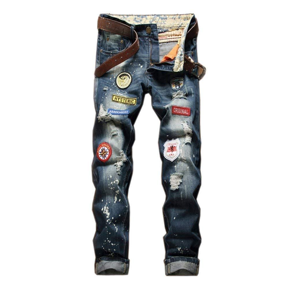 Uomo Jeans Jeans Strappati Jeans A Gamba Dritta Jeans Chic Clubwear Jeans Pantaloni Retro Badge Denim Pants