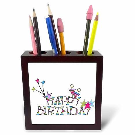 5-Inch 3dRose ph/_53190/_1 Happy Birthday Candles Tile Pen Holder