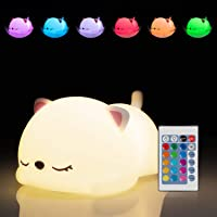 Kitty Night Light for Girls, Kawaii Christmas Birthday Gifts for Kids Baby Boys Toddler Teens Cat Lover Bedroom…