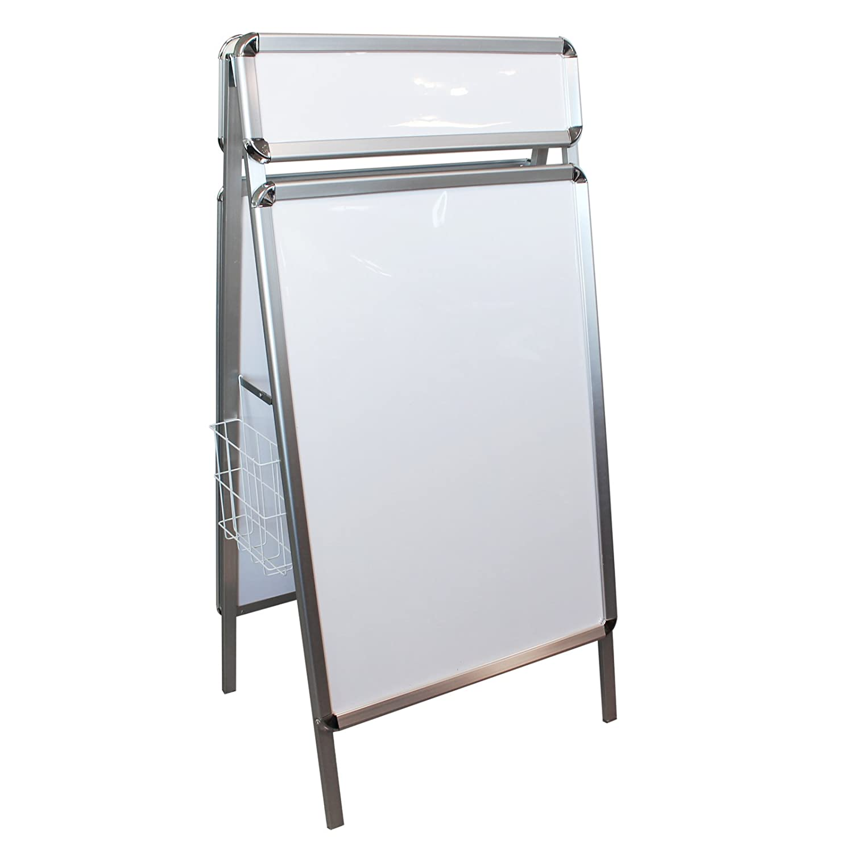 Wiltec Sidewalk sign board 89x64cm top 19.5x64 cm double sided aluminium A-frame A-board sign