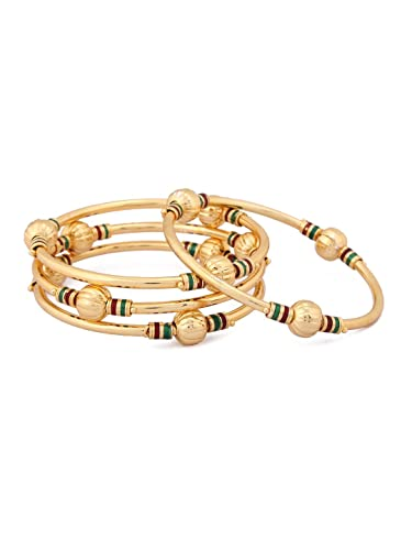 3cf32d64a1 Amazon.com: Rubans Gold Plated Traditional Indian Jewelry Bollywood Ethnic  Wedding Bridal Hand Painted Red and Green Bangles Bangles for Women 2.6:  Jewelry