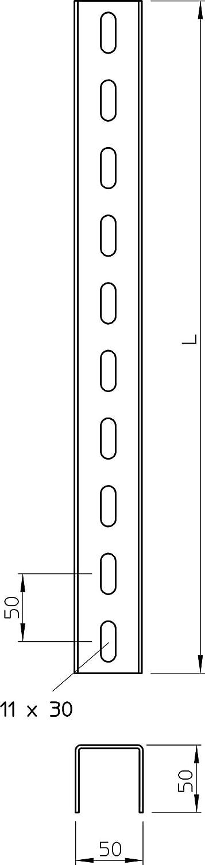 Obo Bettermann/ /Profil de U perfor/é 3/Pages 50/x 50/x 1500/mm St ft