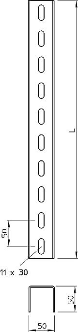 /Profil de U perfor/é 3/Pages 50/x 50/x 1500/mm St ft Obo Bettermann/