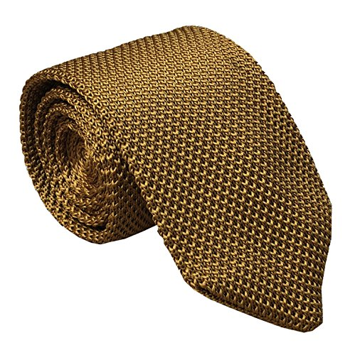 (Men's Bronze Yellow Eco-friendly Self Ties Extra Long Knitted Necktie 58 Inches)