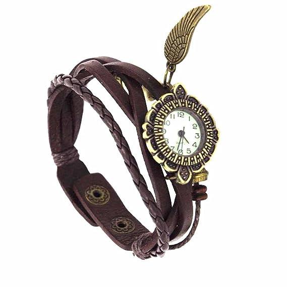 Reloj de pulsera Joya reloj mujer Algodón Dial redondo Números arábigos Quarzo analógico Mujer Marrón Basil: Amazon.es: Relojes