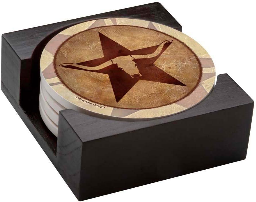 Thirstystone Stoneware Coaster Set, Gift Set, Texas Star Longhorn - HA42