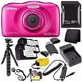Nikon COOLPIX S33 Digital Camera (Pink) (International Model) + EN-EL19 Battery + External Charger + 64GB SDXC Card + Floating Strap + Mini Flexible Tripod + Card Reader Saver Bundle Review