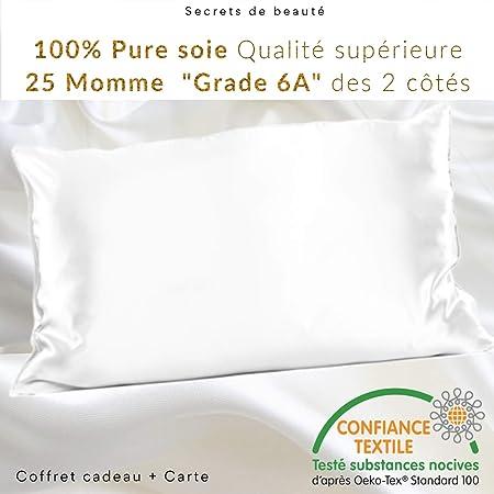 ZIMASILK Taie d'oreiller 100% Soie Naturelle de mûrier pour Les Cheveux et la Peau 19 mm de Soie des Deux côtés 1 unité, Soie, Ivoire, Standard