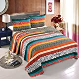 Luxury 100% Cotton Boho Stripe 3-Pieces Quilt Set Full/Queen Size-Machine Washable and Dryable