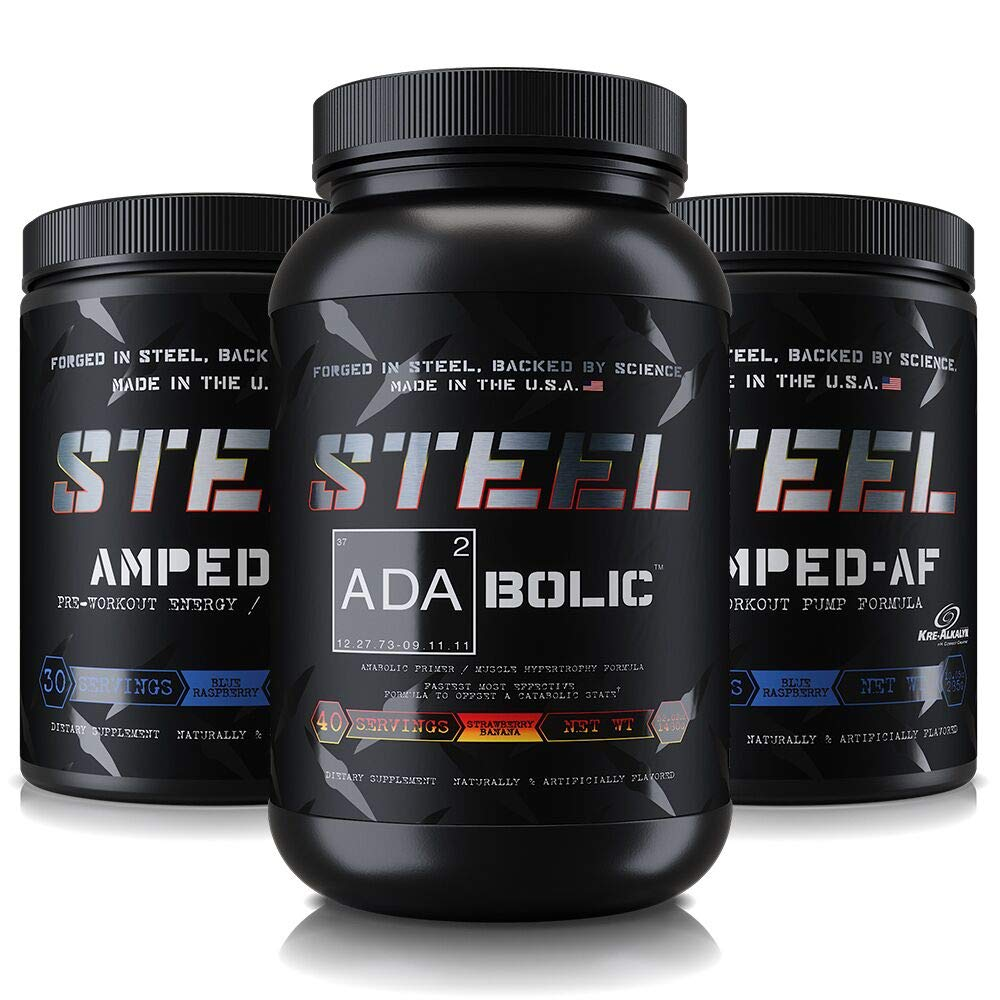 Steel Supplements | The Enhanced Pre-Workout Stack (Strawberry Banana/Blue Raspberry/Blue Raspberry) by Steel Supplements (Image #1)