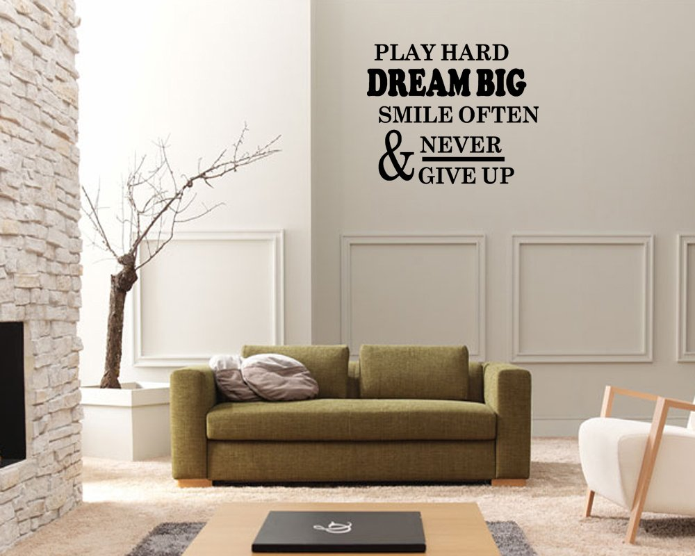 wall art quotes stickers amazon com play hard dream big smile often vinyl wall art sticker large quote decal quotes sticker decal decal lettering home kitchen