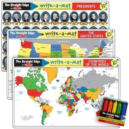 US & the World Write-a-Mat w/ Crayon Bundle for Ages
