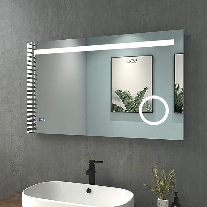Kaltwei/ß Safeni Badspiegel Modell 1, 60cm Touchschalter+3 Farben-Modus+dimmbare mit Beleuchtung Rund 60cm LED Badezimmerspiegel Wandspiegel mit Touch-Schalter