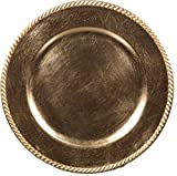 Palais Dinnerware 'Plaque De Charge' Collection - 13'' Elegent Charger Plate (Set of 4, Gold with Rope Finish)