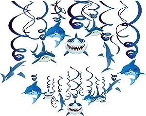 CC HOME Baby Shark Birthday Decoration & Shark Hanging Swirl Decorations - Sharknado/Sea/Ocean/Shark Hanging Decorations Birthday Party Supplies for Shark Sea Themed Splash Party Baby Shower Birthday Party Favor Supplies Decor for Boy Girls Kids (30Pack)