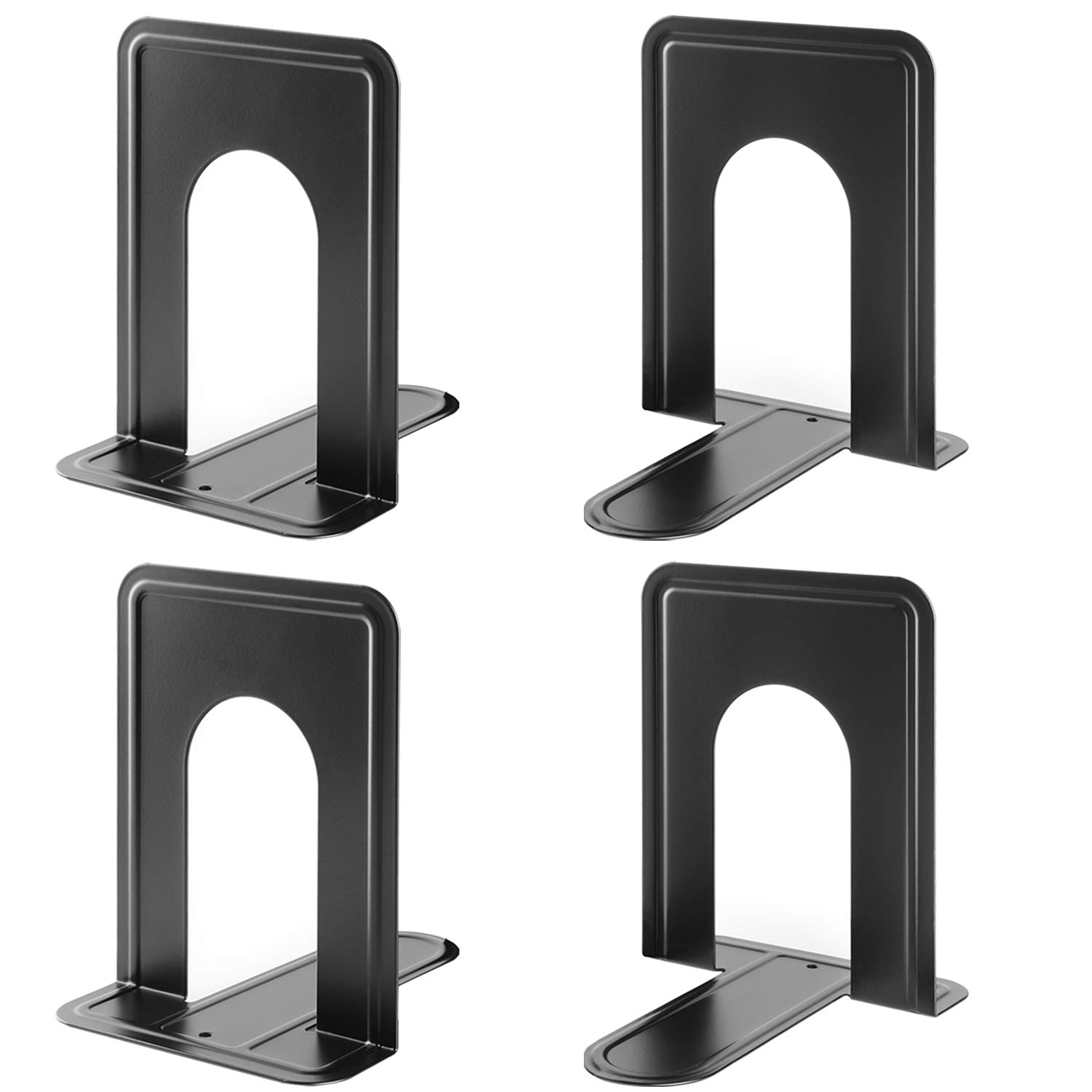 MaxGear Book Ends Universal Premium Bookends Non-Skid Heavy Duty Metal Books End, Bookend Pack, Book Stopper for Books/Movies/CDs/Video Games, 6 x 4.6 x 6 inches, Black (2 Pairs/4 Pieces, Large) by MaxGear
