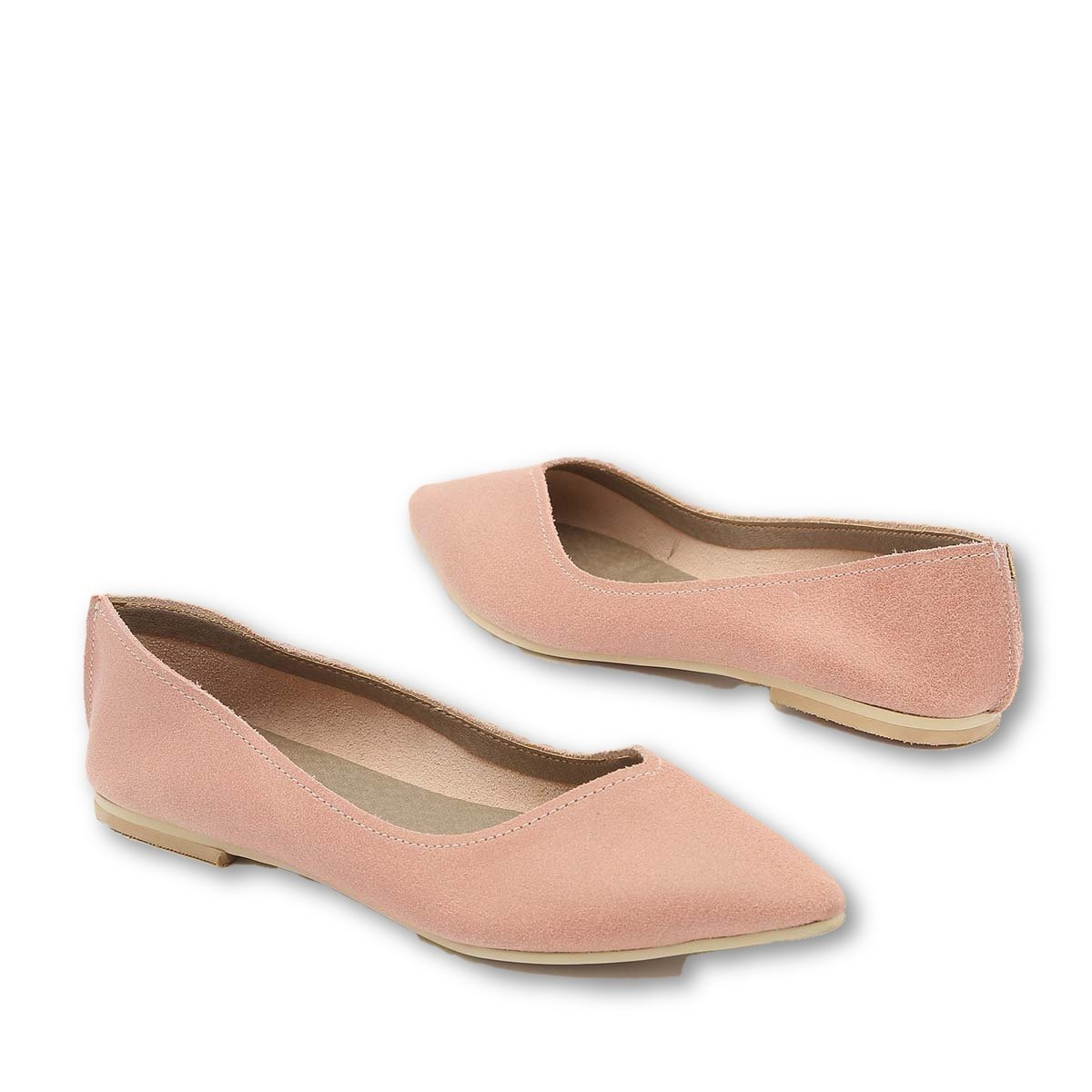 B-Unique Ballet Flats for Women Italian Leather Flat Women's Shoes Slip On Loafer Comfort Pointy Toe B07BLXPLSJ 9.5 B(M) US|Pink
