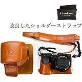 kinokoo SONY ミラーレス一眼 α6000 α6300専用カメラケース バッテリーの交換でき ショルダーストラップ 標識クロス付(BR)