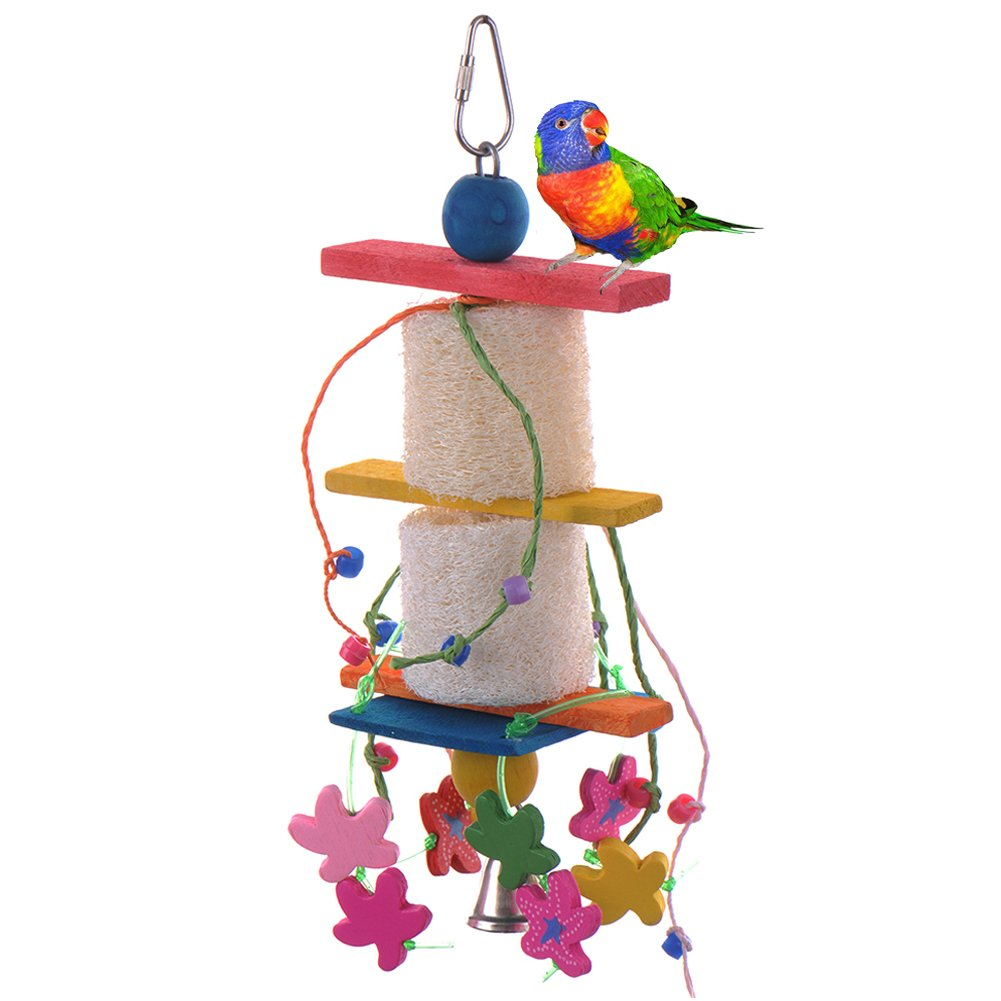 Yunt Colorful Wood Bird Toy Parrot Cage Chew Toys Ladder with Bell For African Grey Conure Parakeet Cockatiel Finch Lovebird Budgie
