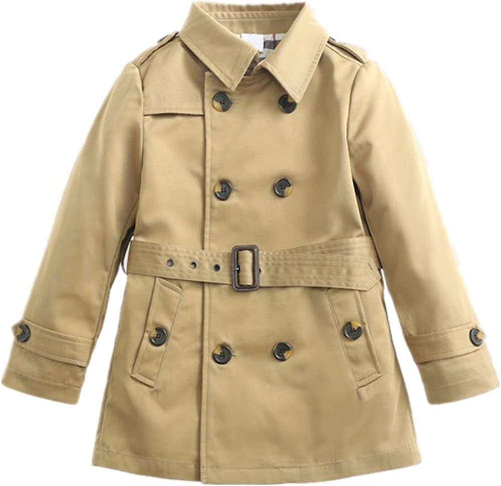 JiaYou Girl Child Kid Lapel Double Breasted Outwear Pea Trench Coat