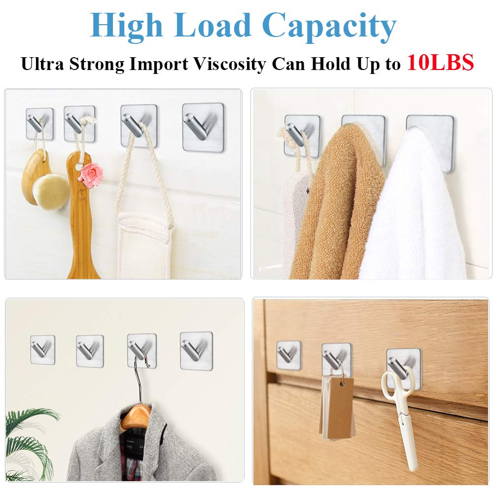 Strong Adhesive Wall Hooks Utility Colorful Hanging Hooks Heavy Duty Reusable Home Kitchen Closet Bathroom Stainless Steel Storage Hooks Damage Free Hanging,Value Pack of 20