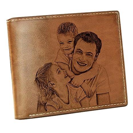 Cartera Billetera Personalizado Foto Grabado Palabras Hombre Plegable Cuero Regalo Personalizado para Familia Novio(Lado