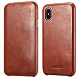 icarercase iPhone X Leather Case, iPhone XS Genuine Vintage Leather Flip Folio Opening Cover in Curved Edge Design, Side Open Case with Hidden Magnetic Snap for Apple iPhone 10 5.8 Inch - Brown