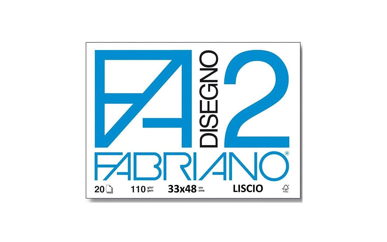 Fabriano F2 06201516 Formato 24 x 33 cm 20 Fogli Album da Disegno Fogli Lisci Riquadrati Grammatura 110gr//m2
