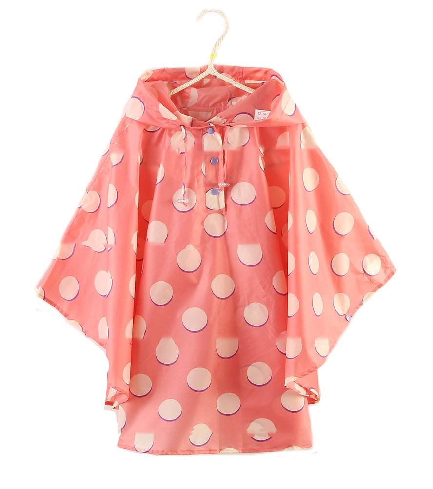 QZUnique Kids' Lightweight Outdoor Ripstop Waterproof Packable Rain Jacket Poncho Raincoat with Hood Pink White Dots US L