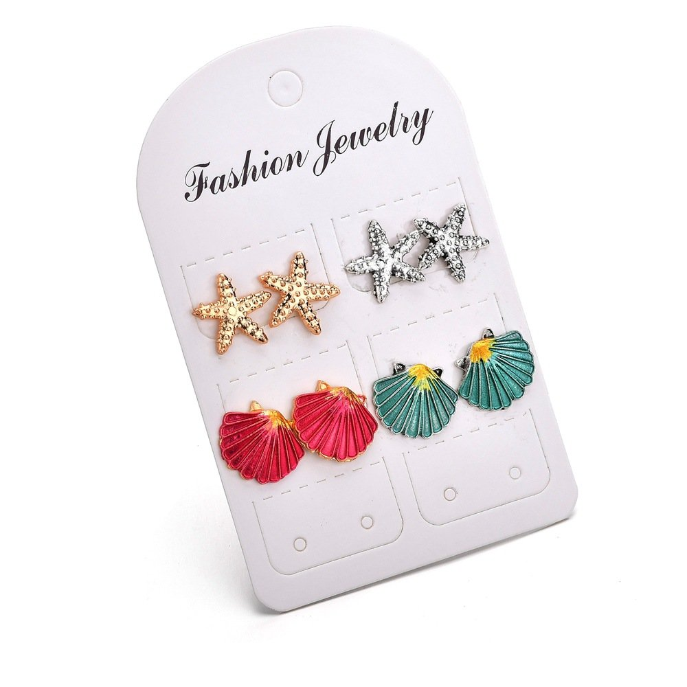 MIXIA 4 Pairs/Set Starfish Shell Multicolored Stud Earrings for Women Wedding Bohemian Summer Beach Ear Studs Jewelry
