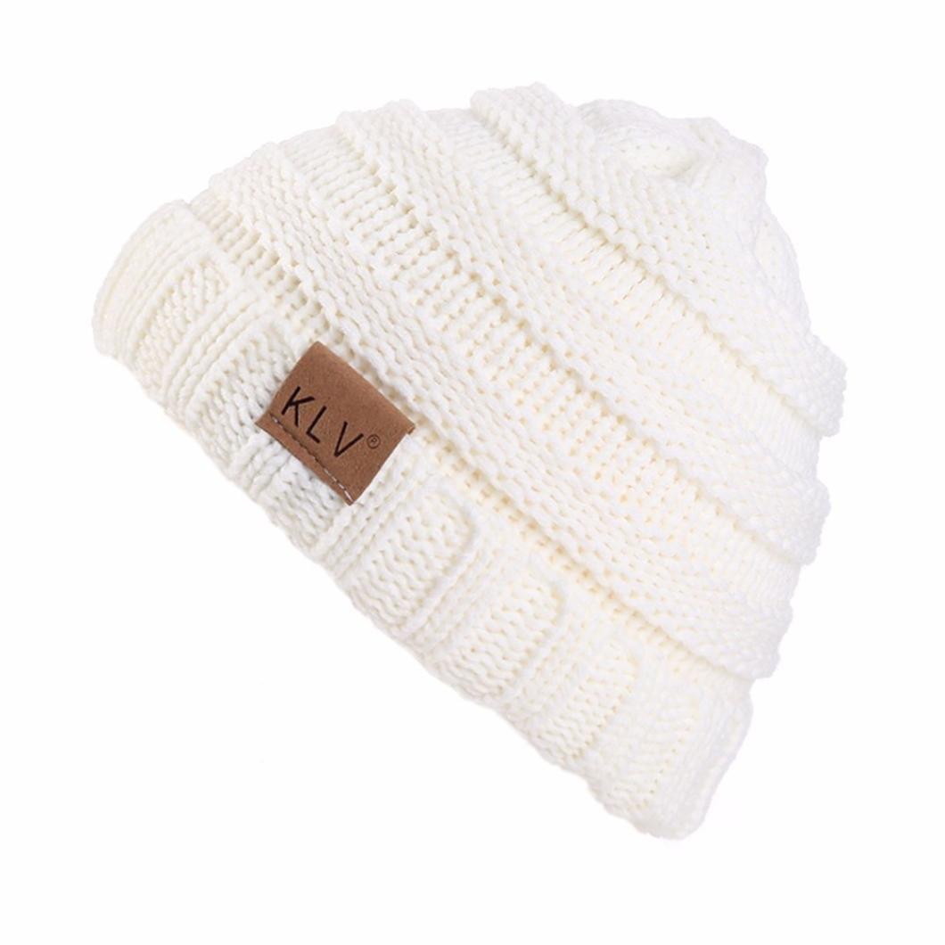 Lavany Boys Girls Winter Knit Wool Hat Warm Crochet Ski Beanie Skull Slouchy Caps (White)