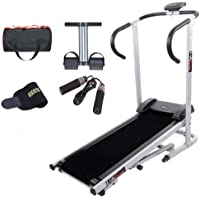 Lifeline Manual Treadmill Machine for Walking and Running at Home| Bonus Tummy Trimmer | Skipping Rope | Gym Bag And Sweat Belt for Stomach Exercise