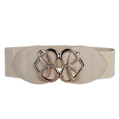 5c864fe5a6c7 FeiTong Hot Vendre Fashion Lady Retro Fashion Decorative ceinture élastique  élastique large ceinture (Beige)