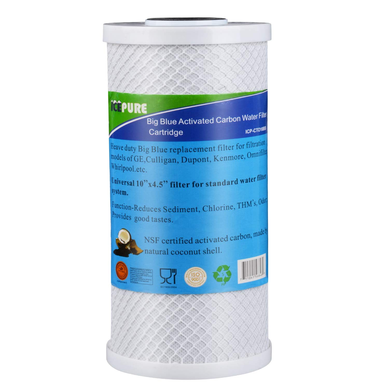 GOLDEN ICEPURE Whole House Big Blue Activated Carbon Water Filter Compatible with Pentair Pentek CBC Series, EP Series, EPM Series, CCBC & CEP Series,NSF Certified Filter