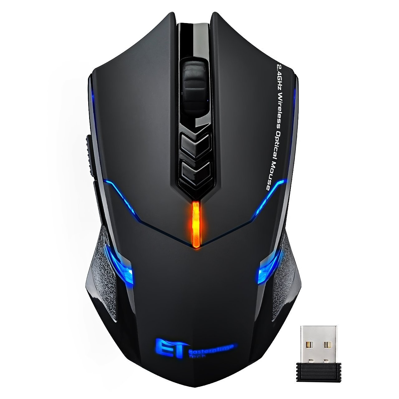 VicTsing Wireless Gaming Mouse with Unique Silent Click, Breathing Backlit, 2 Programmable Side Buttons, 2400 DPI, Ergonomic Grips, 7-Button Design- Black