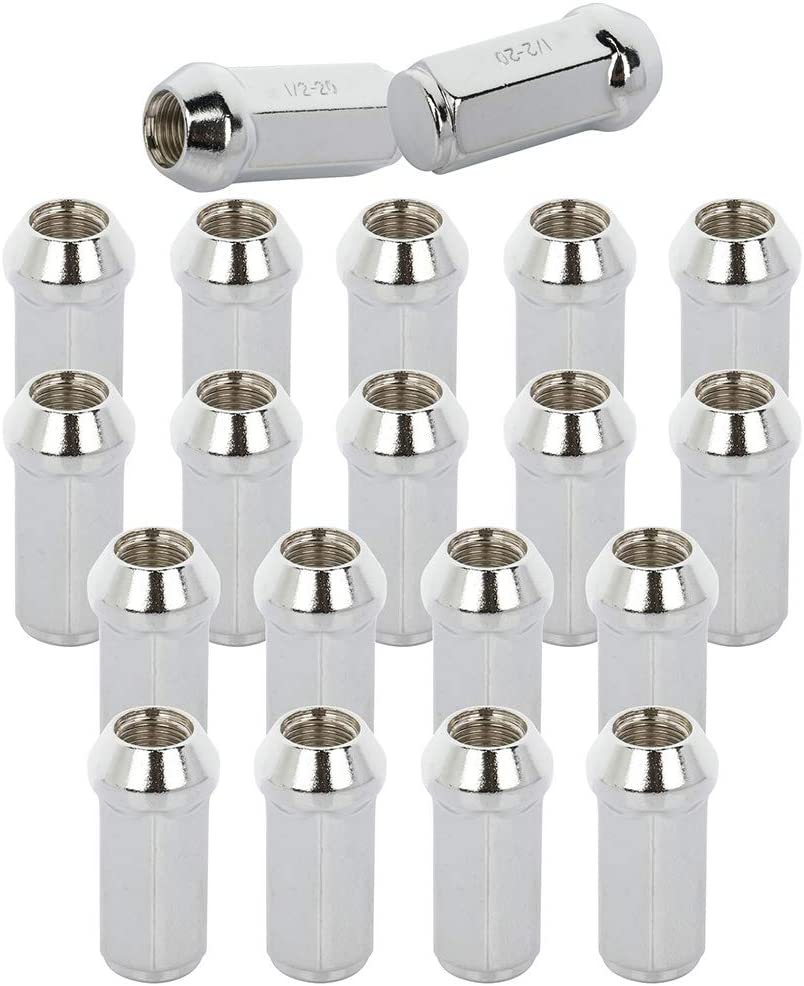OCPTY Lug Nuts 20PCS 1.9 Inches Tall 1//2-20 Chrome Spline Tuner Racing Lug Nuts fits Ford Jeep 1959-2014