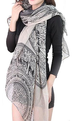 Helan Donna Sciarpe Moda a lungo Slik Sciarpe Viaggi Wrap floreale Seta