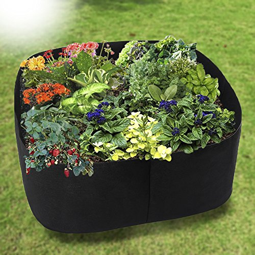 Planting Flower Beds - pannow Fabric Raised Planting Bed, Garden Grow Bags Herb Flower Vegetable Plants Bed Rectangle Planter for Plants Flowers and Vegetables 3 x 3 Feet