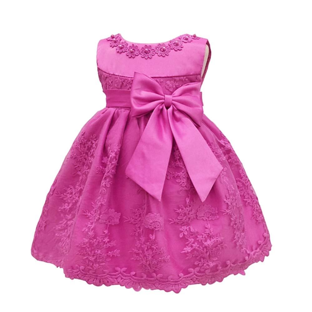XFentech B/éb/é Princesse Robe Robe De Bapt/ême Anniversaire Fille De B/éb/é Bapt/ême Robe De Noce Bowknot