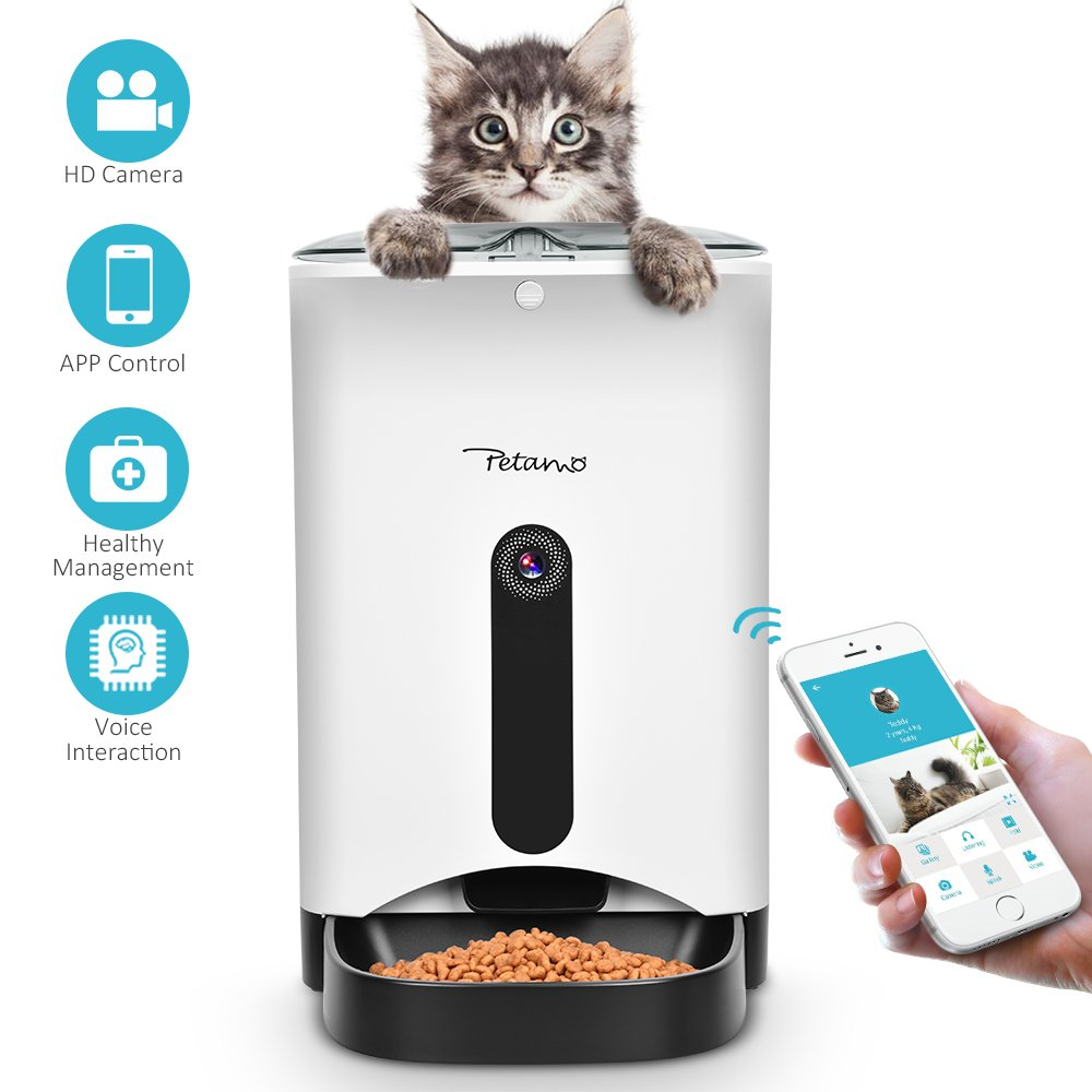 Automatic Cat Feeder - Webcam Feeder Food Dispenser Cat Feeder Auto Feeder for Dogs, Cats Replendish Pet Automatic Pet Feeder Android IOS APP Enabled Cat Food Feeder Dog Smart Feeder for Pet Parents