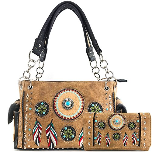 Justin West Tribal Dream Catcher Feather Embroidery CCW Concealed Carry Handbag (Tan Handbag Wallet Set) ()