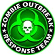 "Zombie Outbreak Response Team Green Skull Vinyl Decal Sticker 5"" Color"