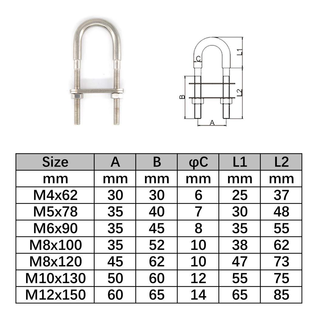 M6x90 Juego de pernos de acero inoxidable 304 en forma de U 2 piezas