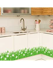 Green Grass & White Flowers Wall Art Stickers Decorative Removable DIY Vinyl Wall Decals Make Fresh-Looking Mural in Living Room, Bedroom, Bathroom, Baseboard