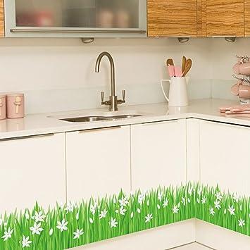 Wandtattoo Grunes Gras White Flowers Wand Aufkleber Dekorative
