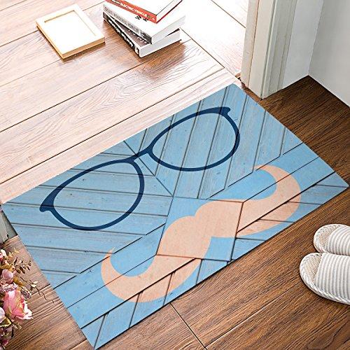 Wood Geometric Glasses Beard Bowtie Door Mats Kitchen Floor Bath Entrance Rug Mat Absorbent Indoor Bathroom Decor Doormats Rubber Non Slip ()