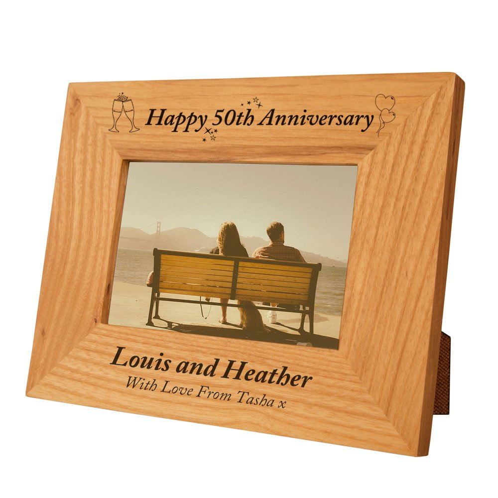 Engraved 50th Wedding Anniversary Gift Idea Special Oak Frame Personalised Gold