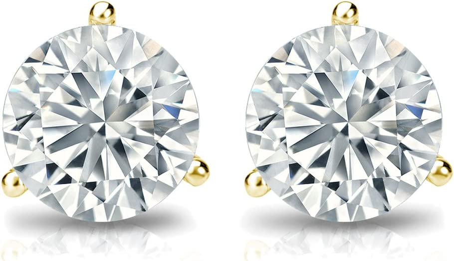 3//8ct,Excellent Quality 14k Yellow Gold Pear Diamond Simulated Cubic Zirconia SINGLE STUD Earrings V-Prong