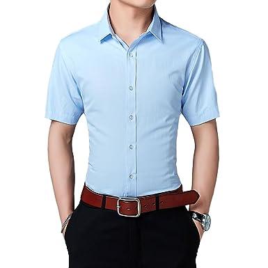 e3606c4f98 Camisa de Mangas Cortas para Hombre Camisas Clásicas de Negocios de Ocio  Slim Fit S-5XL  Amazon.es  Ropa y accesorios
