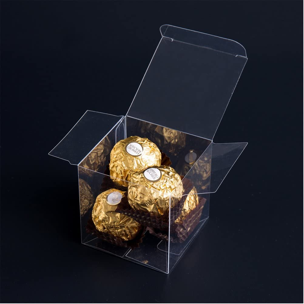 MOWO Clear Plastic Box 2x2x2 inch for Gift Candy Treat Cupcake Transparent Packing Box Party Favors 50pc